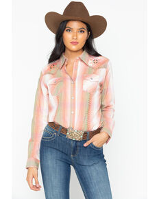 Wrangler Women's Vintage Whipstitch Snap Long Sleeve Western Shirt, Blush, hi-res