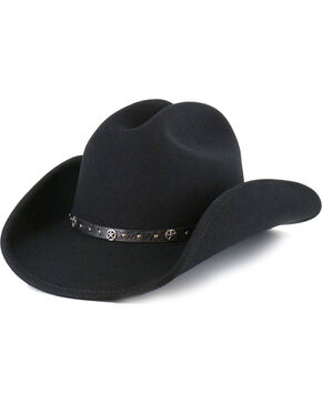 Cody James® Men's Felt Cowboy Hat, Black, hi-res