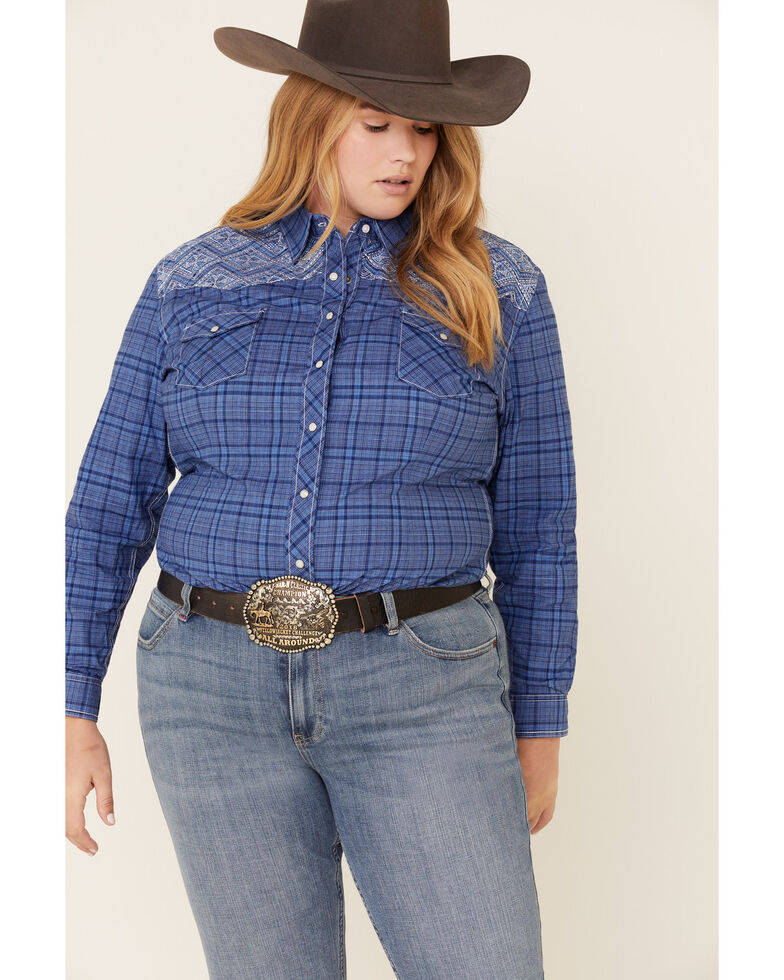 Rough Stock by Panhandle Women's Carrigan Classic Plaid Long Sleeve Western Shirt - Plus, Blue, hi-res