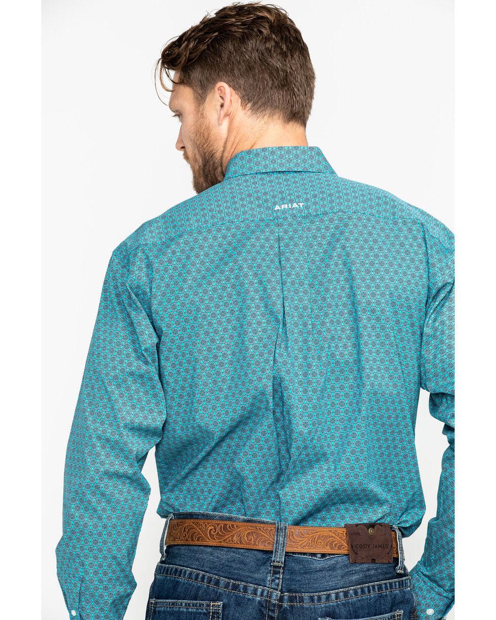 Ariat Men's Caidan Stitch Floral Print Long Sleeve Western Shirt - Big & Tall , Blue, hi-res