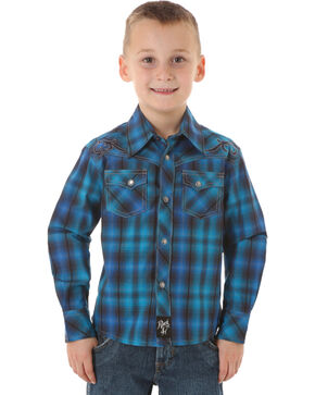Wrangler Rock 47 Boys' Blue & Black Plaid Snap Shirt, Blue, hi-res
