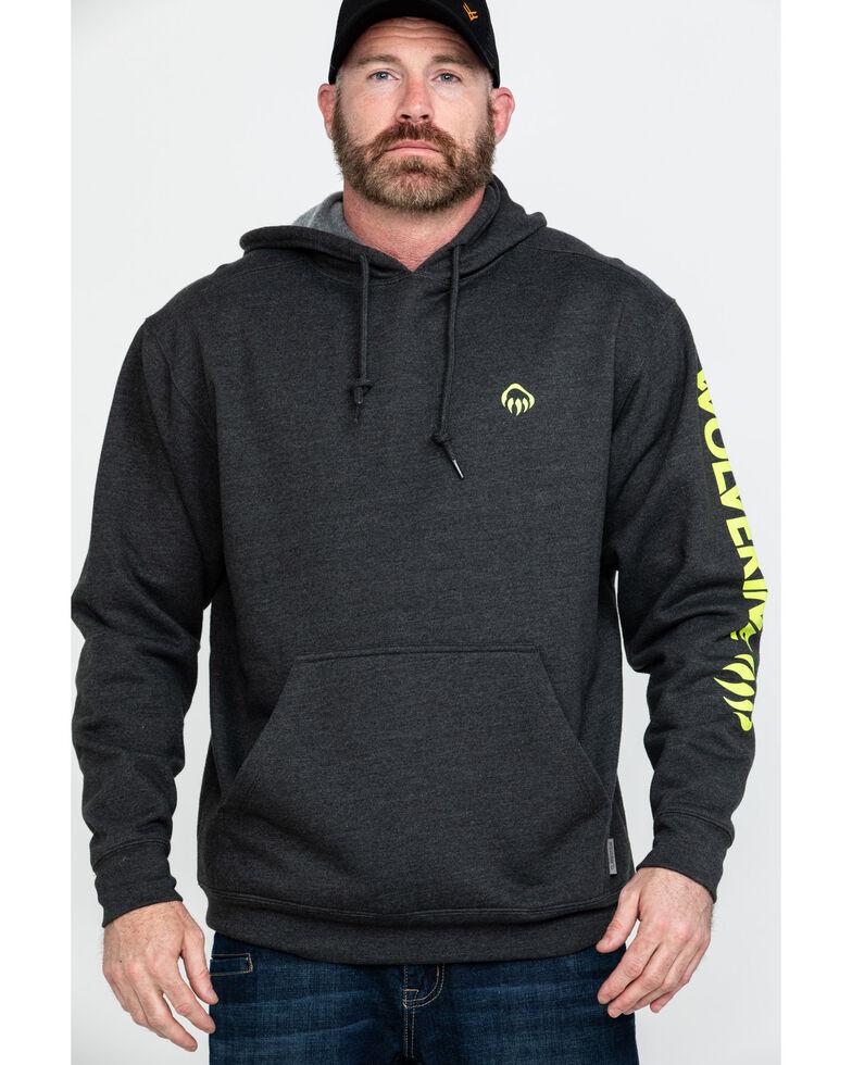 Wolverine Men's Logo Sleeve Hooded Work Sweatshirt, Charcoal, hi-res