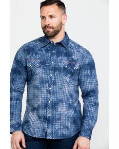 Rock & Roll Cowboy Men's Spray Washed Satin Plaid Long Sleeve Western Shirt , Blue, hi-res