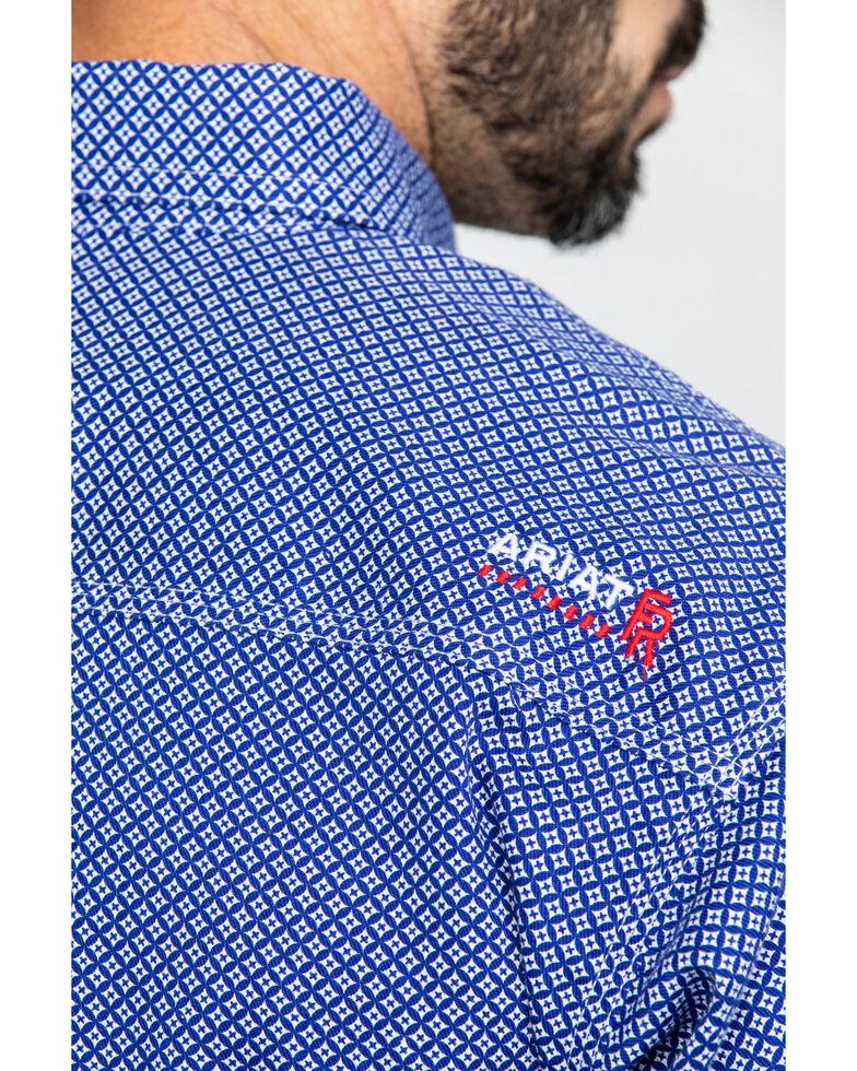 Ariat Men's FR Cobalt Print Liberty Long Sleeve Work Shirt - Big , Blue, hi-res