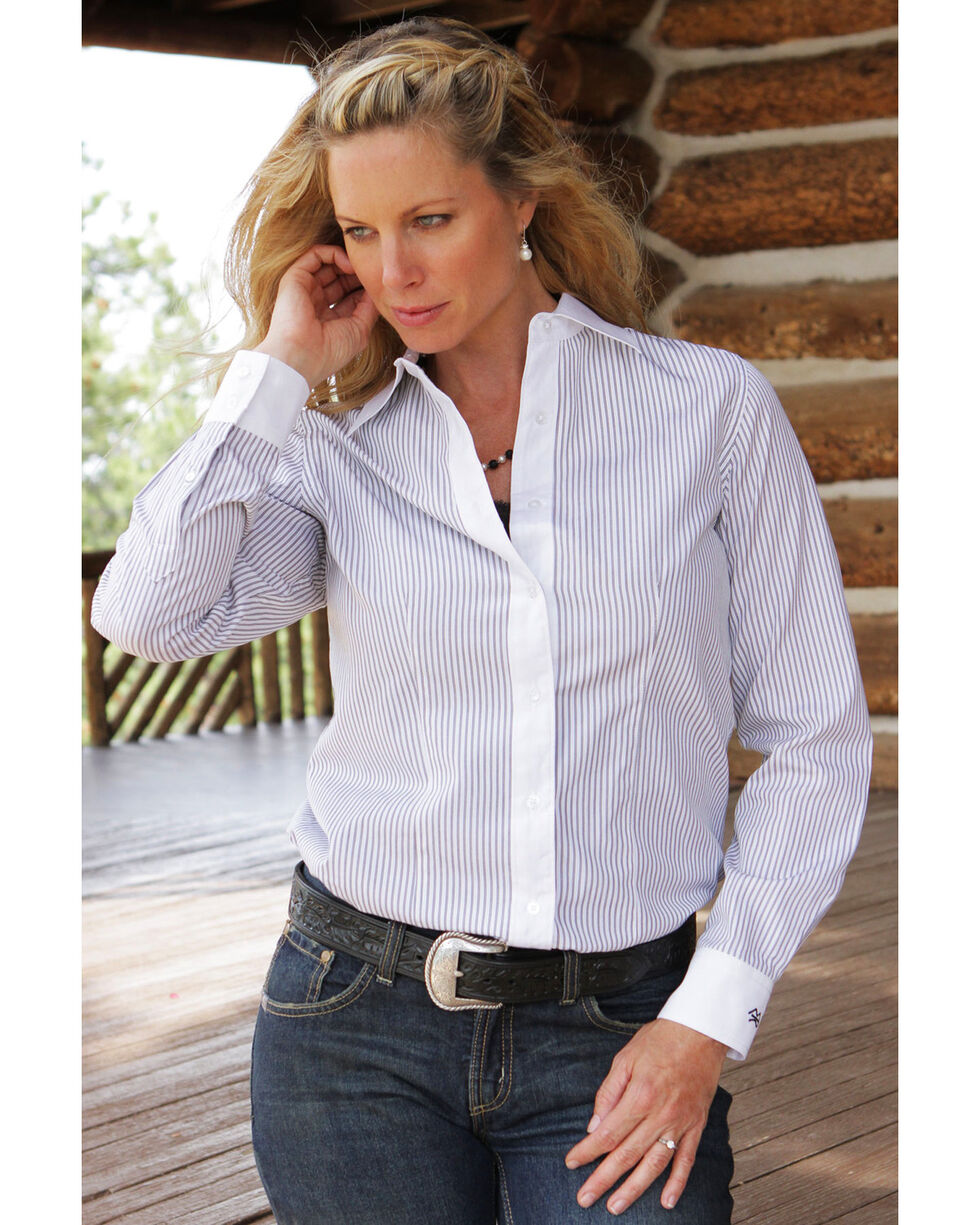 Miller Ranch Women's Black & White Stripe Dress Shirt, White, hi-res