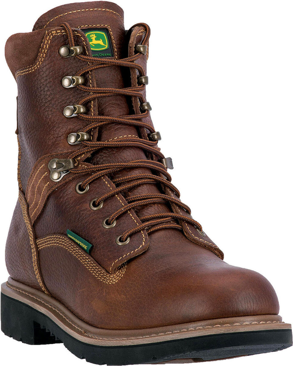 """John Deere Men's Waterproof 8"""" Lace Up Boots - Steel Toe , Brown, hi-res"""