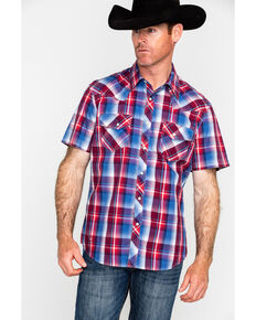 Rock & Roll Cowboy Men's Red Crinkle Washed Plaid Short Sleeve Western Shirt , Red, hi-res