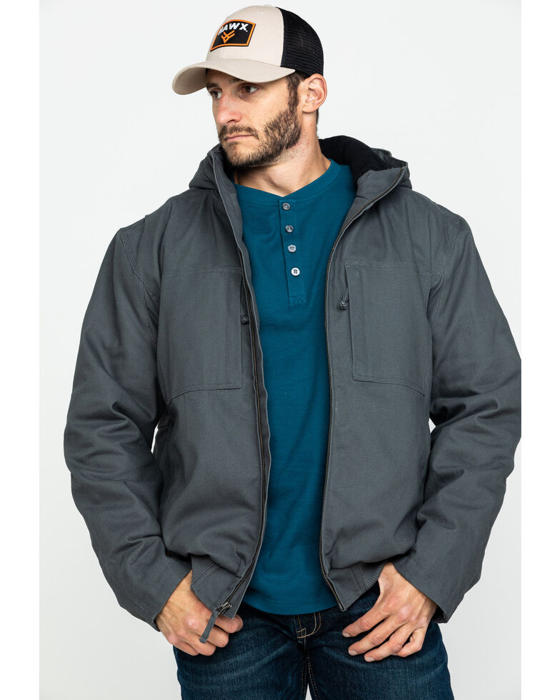 Hawx Men's Shadow Grey Canvas Quilted Bi-Swing Hooded Zip Front Work Jacket , Dark Grey, hi-res