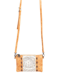 Shyanne Women's Tooled Leather Fringe Wristlet, Brown, hi-res