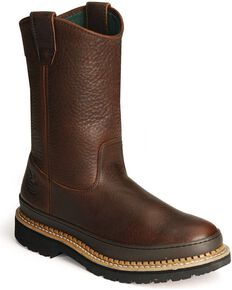 Georgia Men's Wellington Giant Steel Toe Work Boots, Brown, hi-res