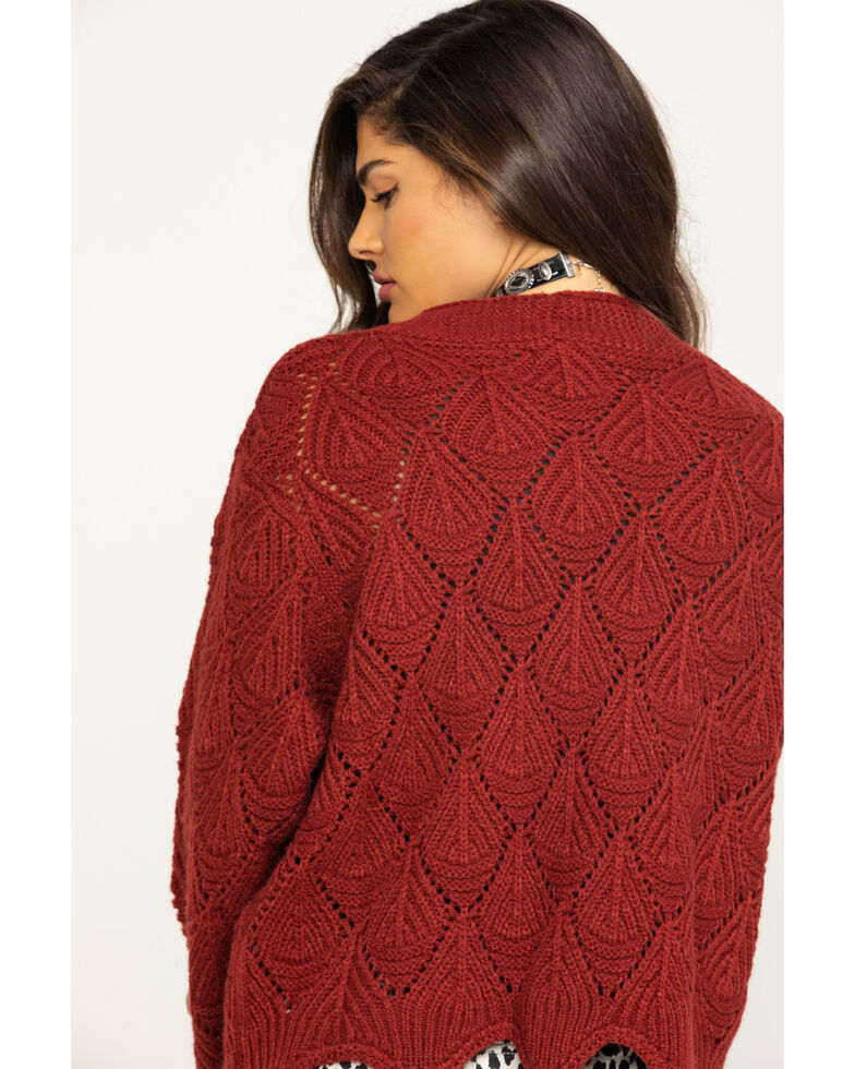 Angie Women's Mustard Scallop Knit Cardigan, Rust Copper, hi-res