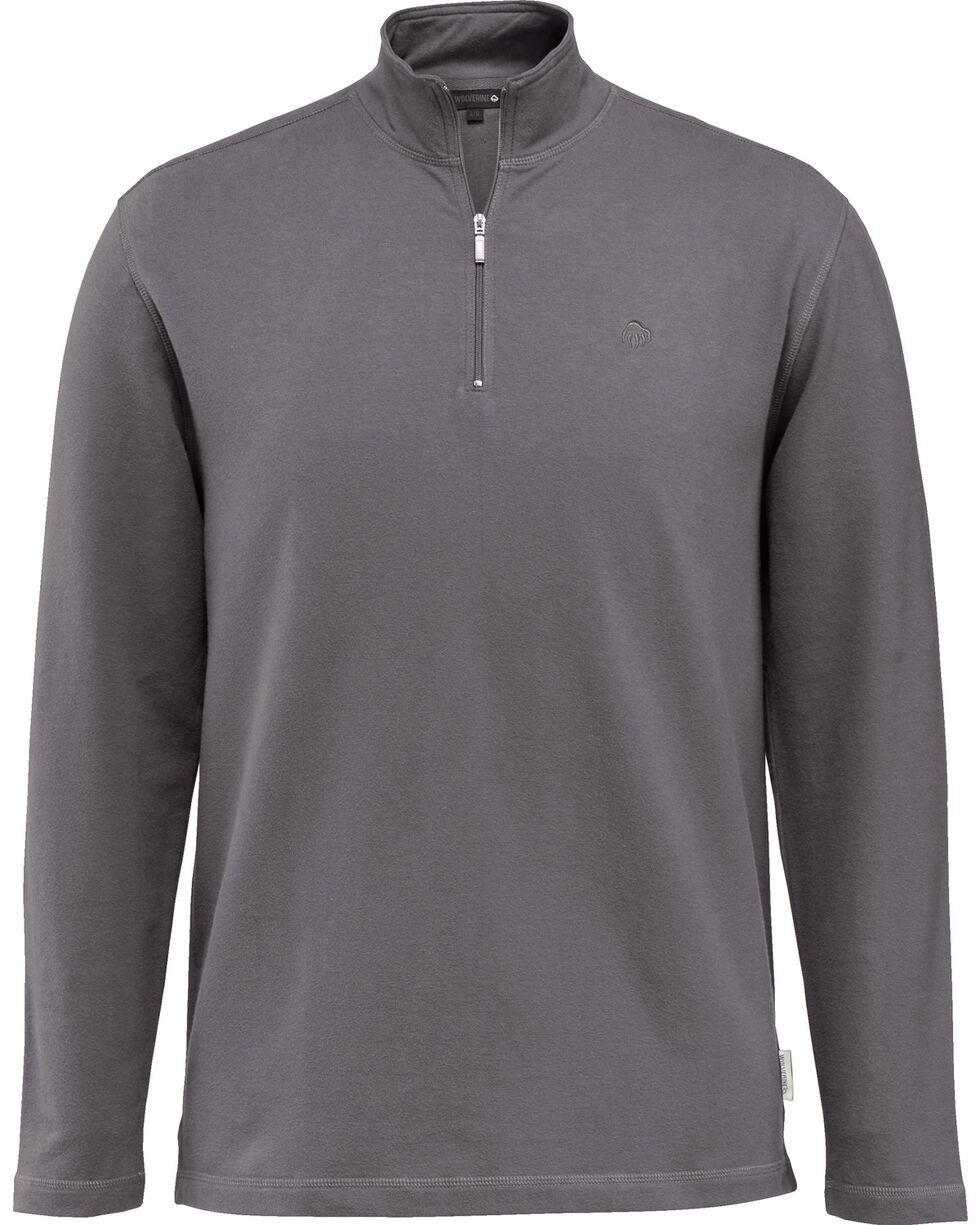 Wolverine Men's Benton 1/4 Zip Long Sleeve Shirt Jacket, Dark Grey, hi-res