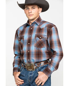 Rough Stock By Panhandle Men's Bari Vintage Plaid Snap Long Sleeve Western Shirt, Multi, hi-res