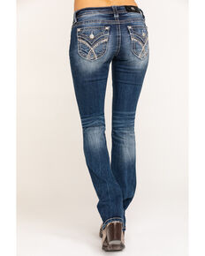 Miss Me Women's Dark Wash Mixed Stitch Slim Bootcut Jeans, Blue, hi-res