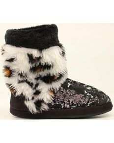 Blazin Roxx Leopard Print Furry Sequin Slipper Booties, Black, hi-res