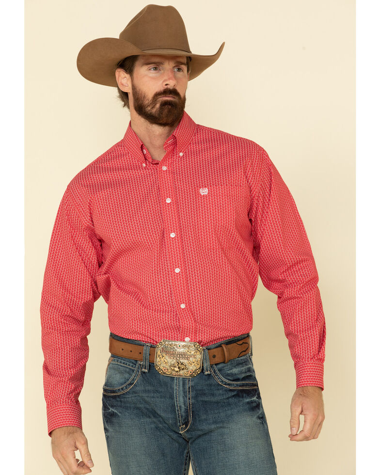 Cinch Men's Red Stretch Geo Print Long Sleeve Western Shirt , Red, hi-res