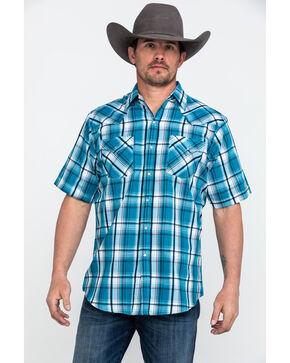 Ely Cattleman Men's Blue Sawtooth Textured Plaid Short Sleeve Western Shirt - Tall , Blue, hi-res
