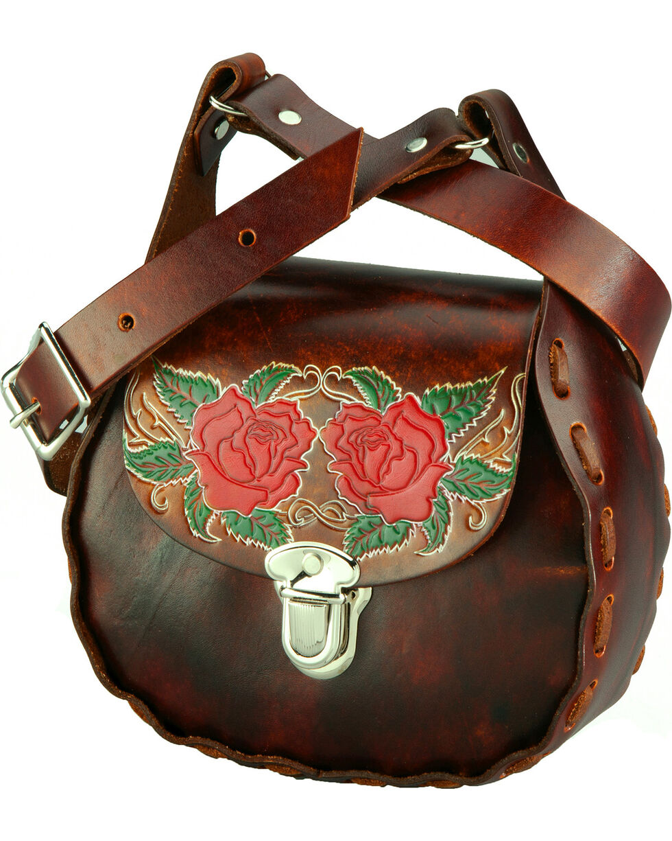 Western Express Women's Brown Floral Leather Shoulder Bag , Brown, hi-res
