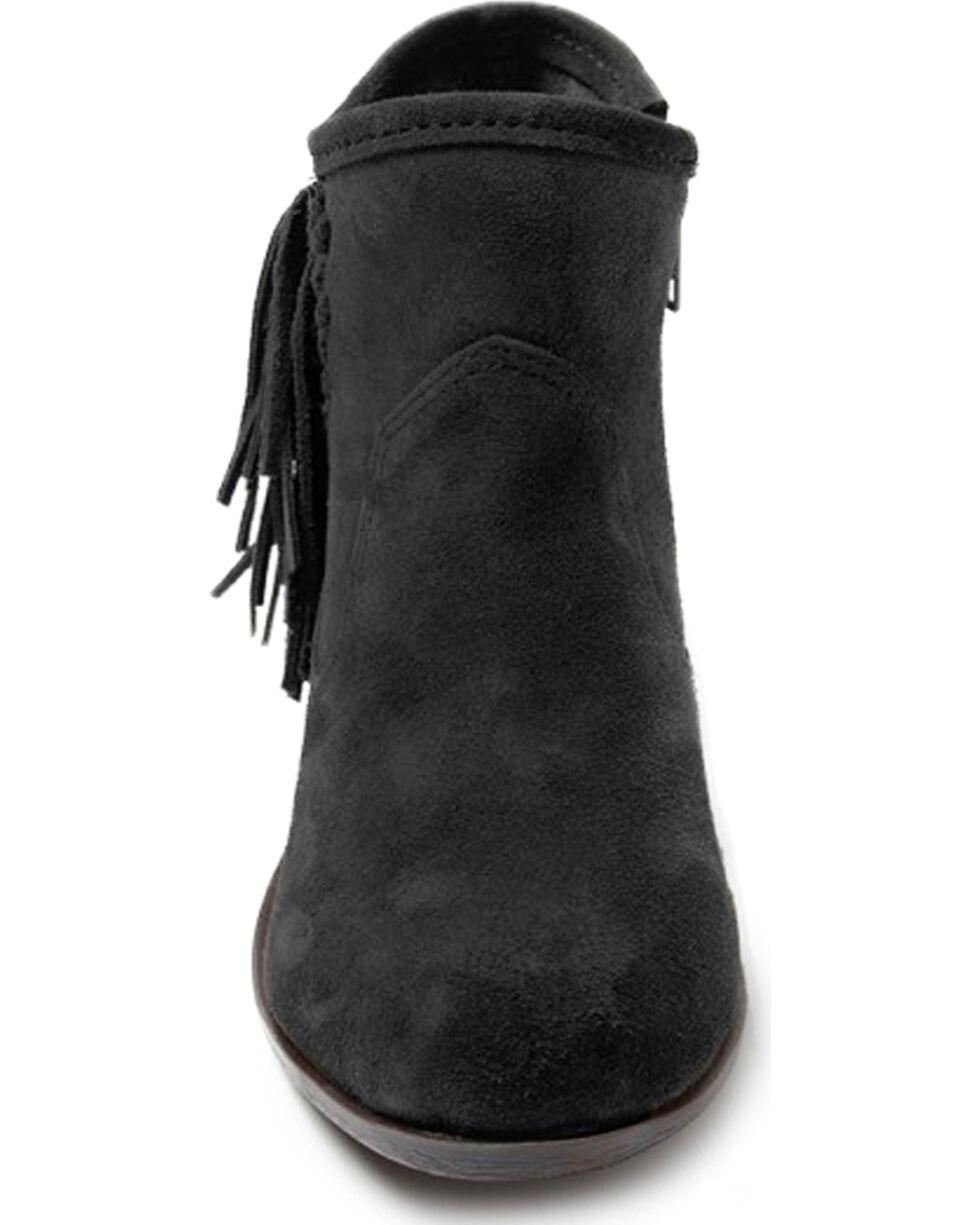 Minnetonka Women's Blake Fringe Booties - Round Toe, Black, hi-res