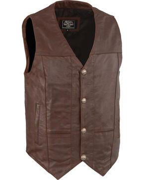 Milwaukee Leather Men's Western Plain Side Vest - Big 3X , Brown, hi-res