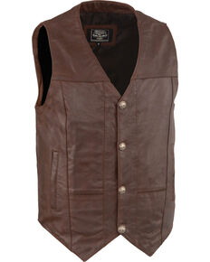 Milwaukee Leather Men's Western Plain Side Vest - Big - 5X , Brown, hi-res
