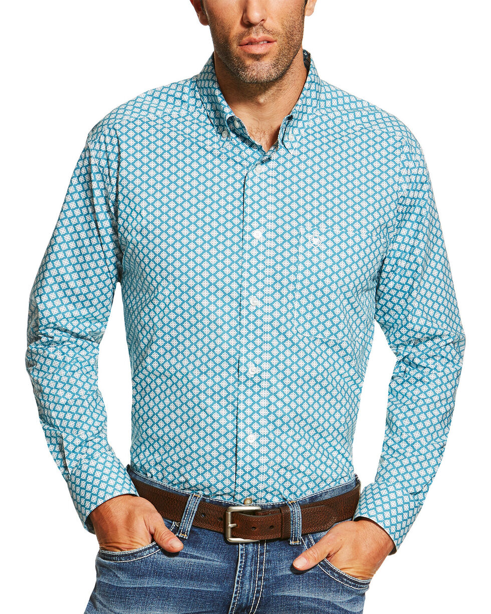 Ariat Men's Dotted Long Sleeve Shirt, Teal, hi-res