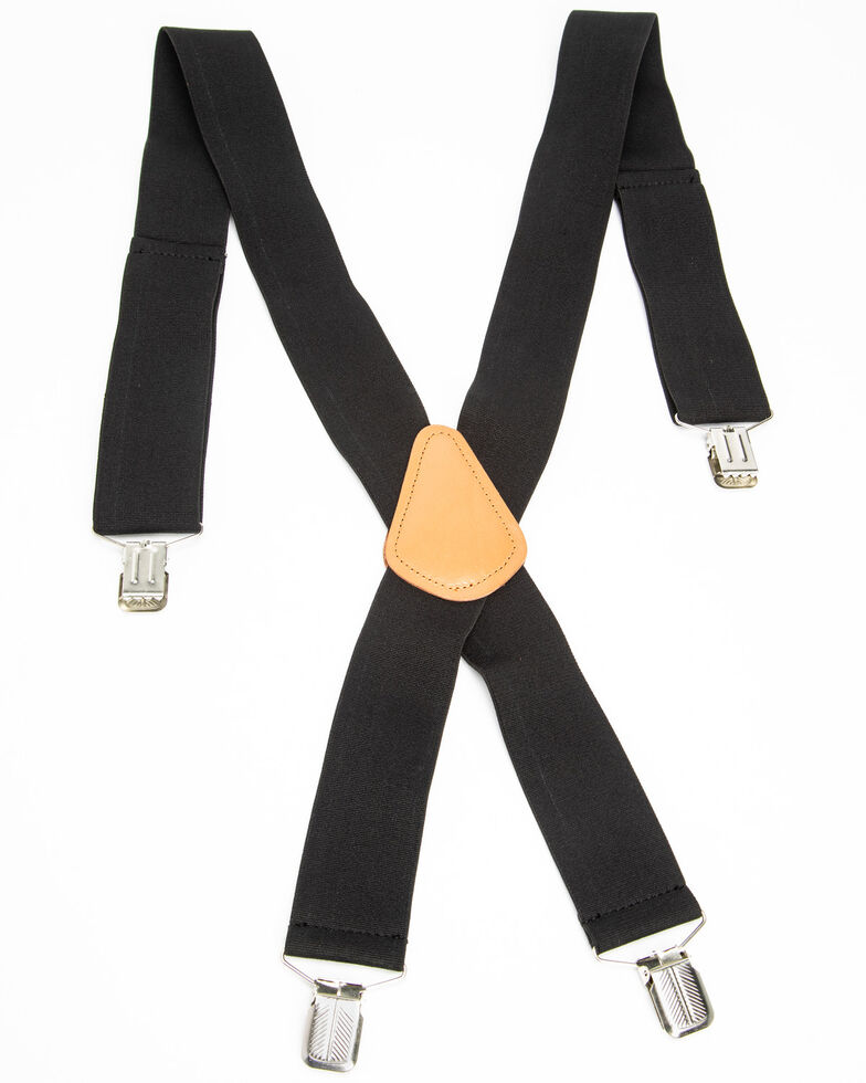 Hawx Men's Black Work Suspenders, Black, hi-res