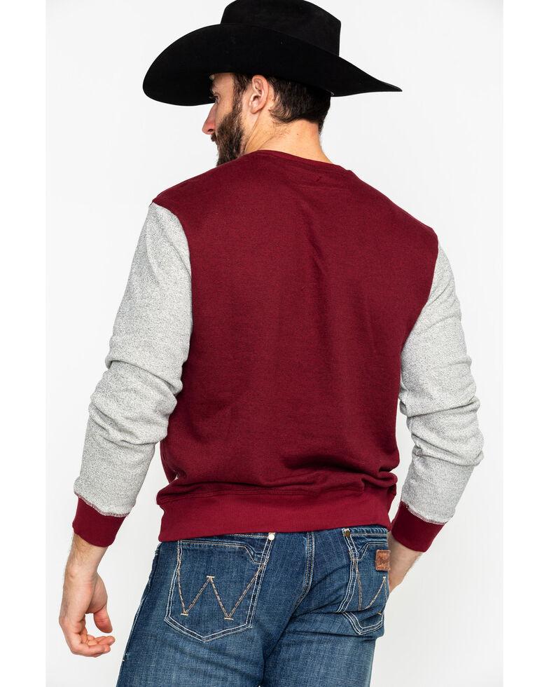 American Republic Men's Cordovan Color Block Henley Long Sleeve Shirt , Heather Red, hi-res