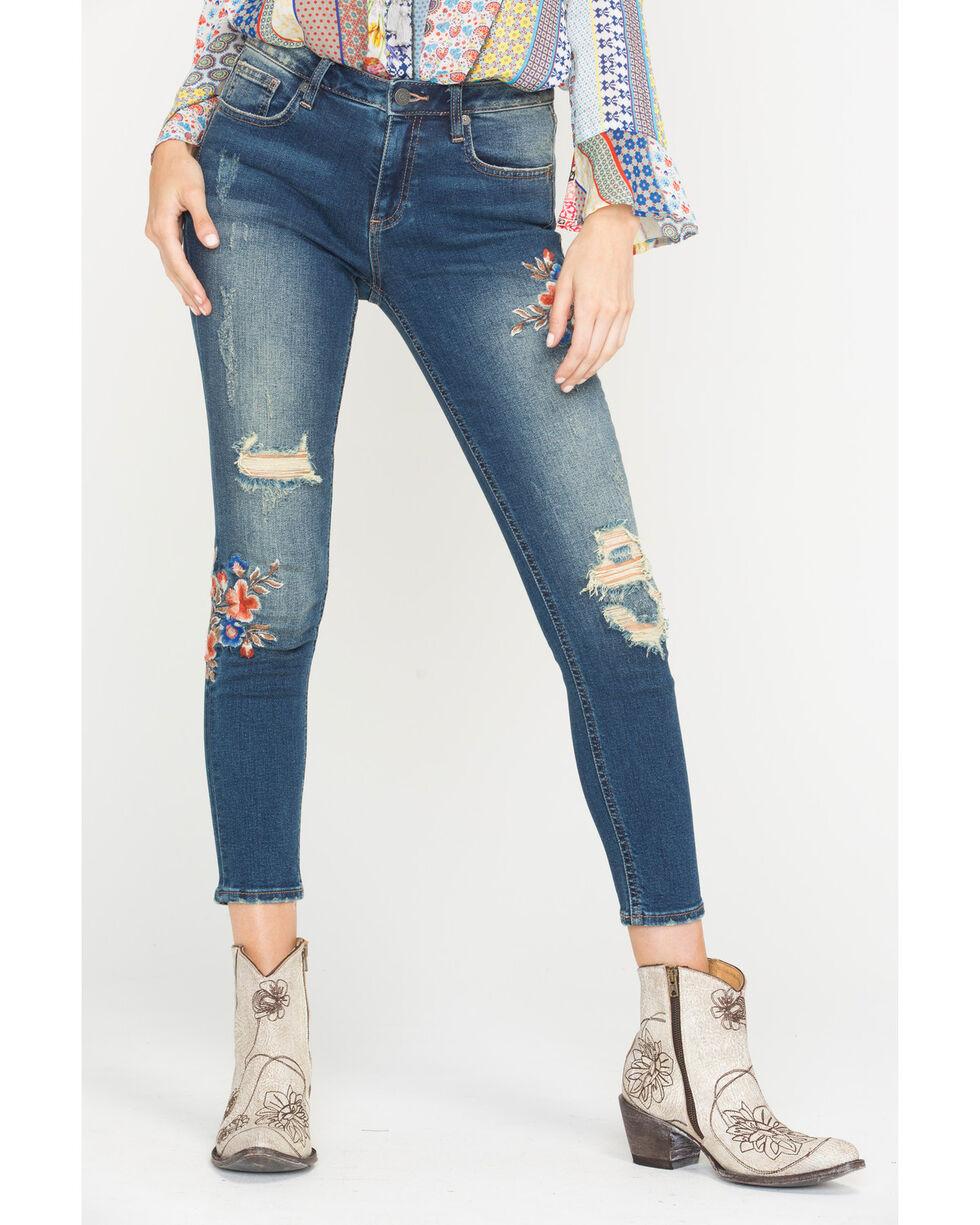 Miss Me Women's Floral Wonder Mid-Rise Ankle Skinny Jeans, Indigo, hi-res