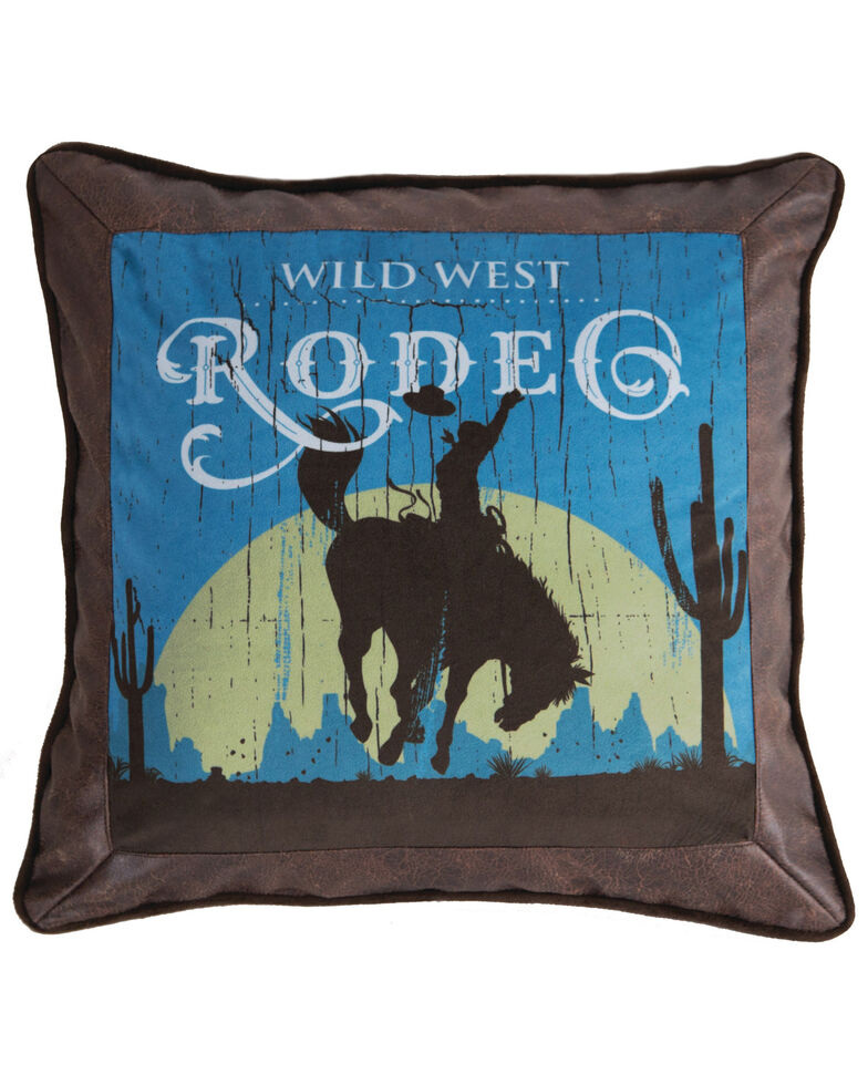 Carstens Home Wrangler Faux Leather Rodeo Throw Pillow, Blue, hi-res