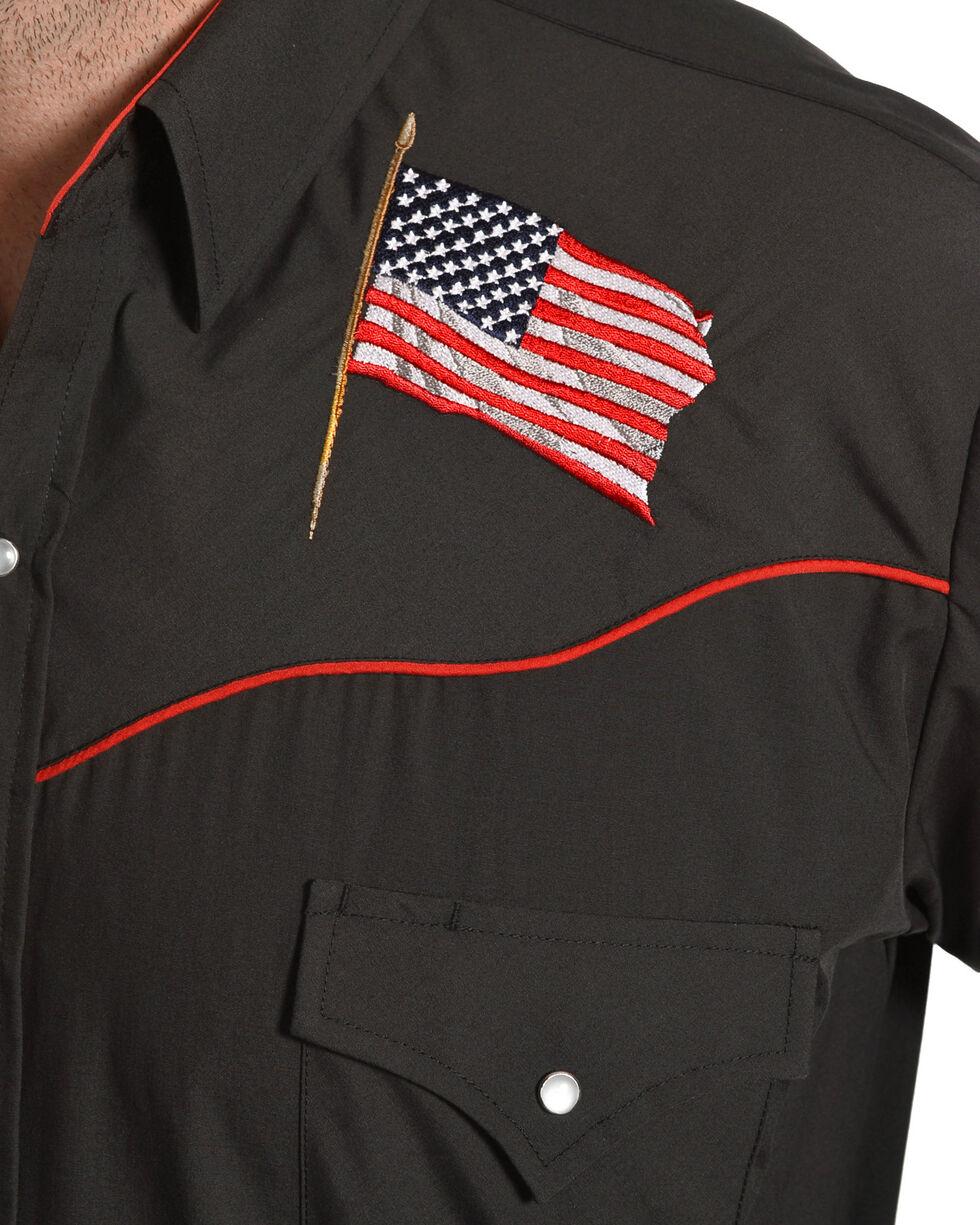 Ely Cattleman Men's Black Patriotic Embroidered Shirt , Black, hi-res