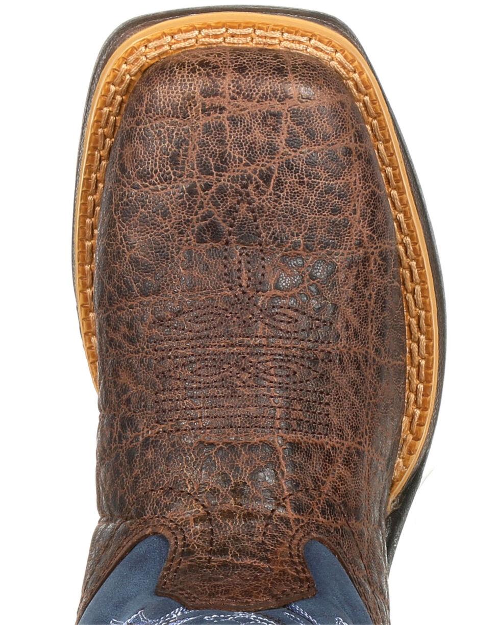 Durango Boys' Lil' Rebel Faux Elephant Western Boots - Square Toe, Brown, hi-res