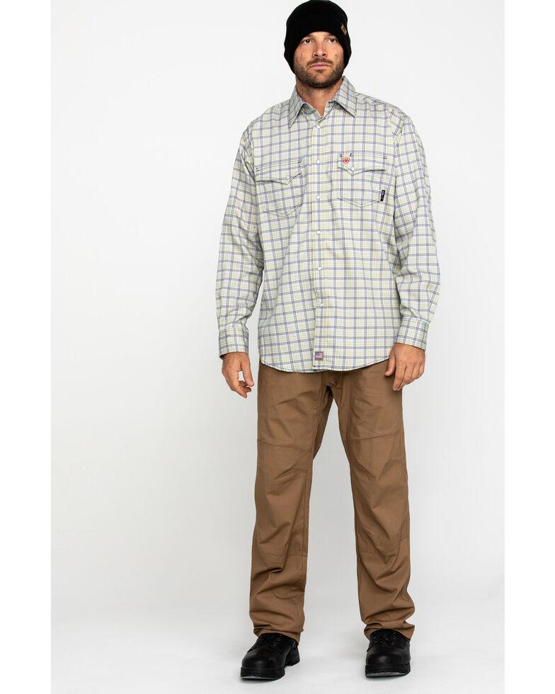 Ariat Men's FR Whitestone Solid Long Sleeve Work Shirt - Tall , Blue, hi-res