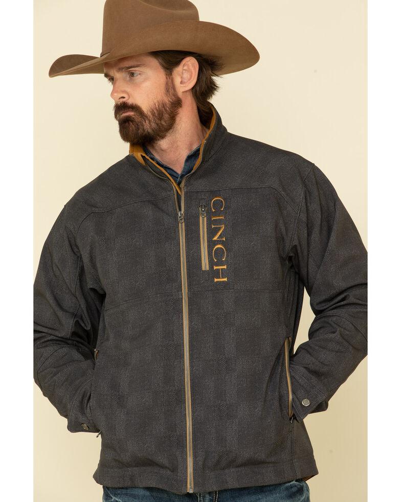 Cinch Men's Charcoal Solid Logo Textured Bonded Jacket - Big , Charcoal, hi-res