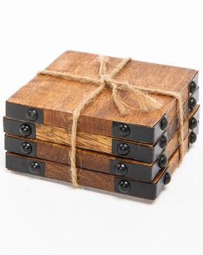 BB Ranch Rustic Wood Coasters, Brown, hi-res