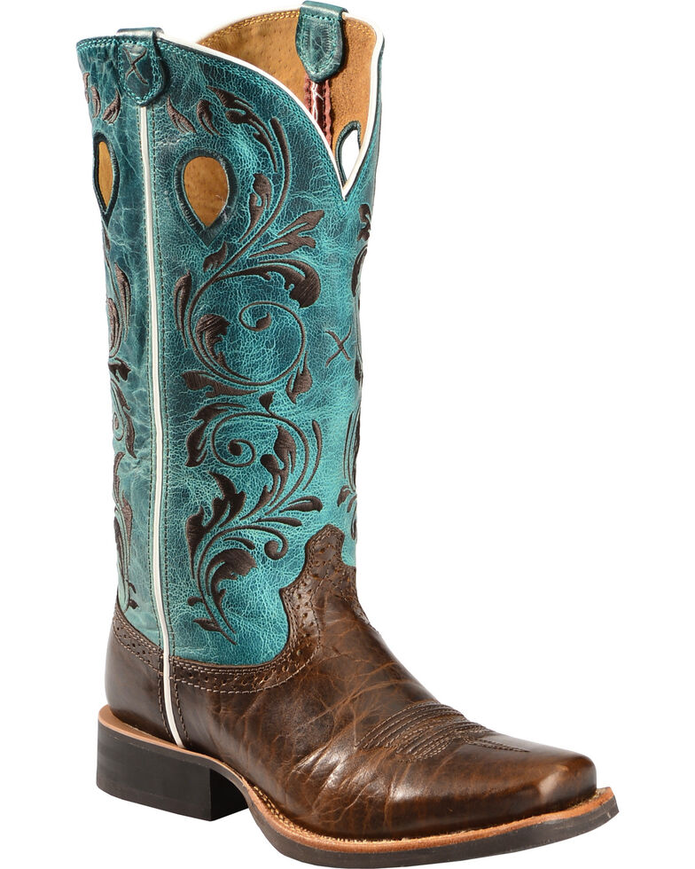 Twisted X Women's Filigree Square Toe Western Boots, Chocolate, hi-res