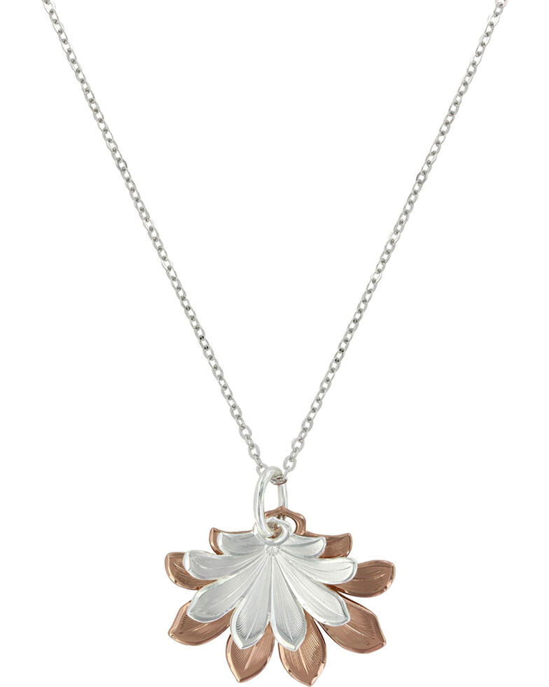 Montana Silversmiths Women's Bitterroot Two Tone Flower Fan Necklace , Silver, hi-res