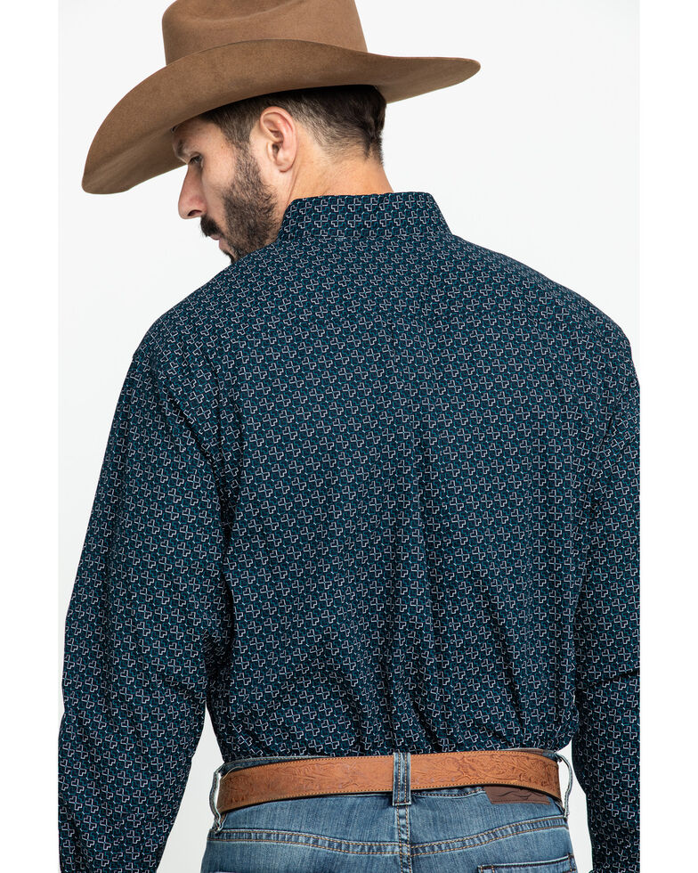 Cinch Men's Navy Geo Print Plain Weave Long Sleeve Western Shirt , Navy, hi-res