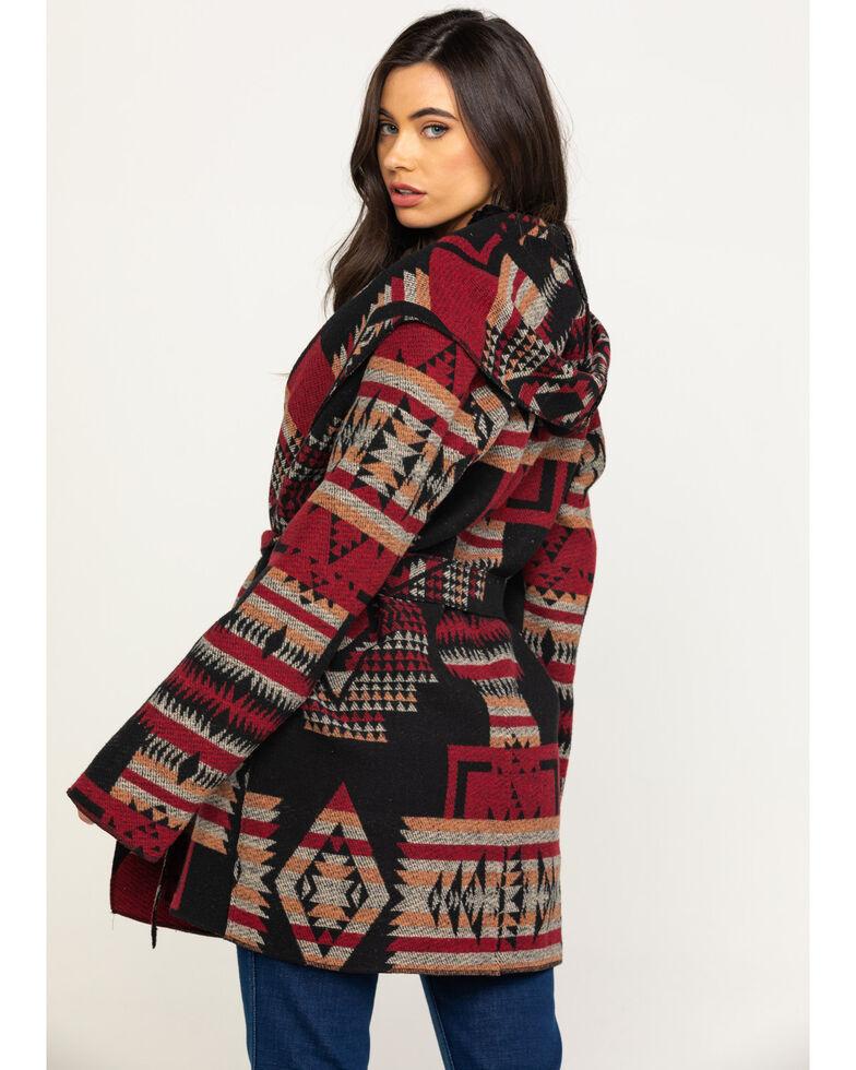 Cripple Creek Women's Black Navajo Tie Front Blanket Wrap Hoodie Jacket , Black, hi-res
