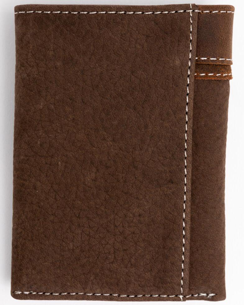Cody James Men's Boot Stitch Longhorn Tri-Fold Leather Wallet , Tan, hi-res