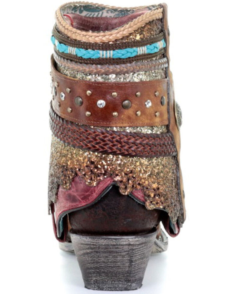 Corral Women's Decorated Flipped Shaft Fashion Booties - Snip Toe, Distressed Brown, hi-res