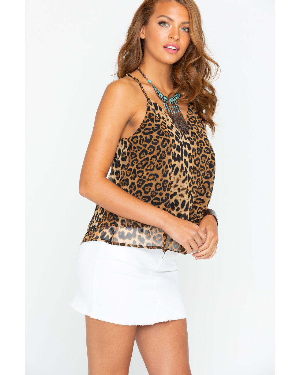 Panhandle Women's Cheetah Print Swing Tank, Brown, hi-res