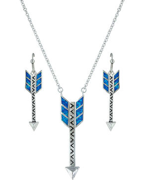 Montana Silversmiths Sky Fletched Arrow Jewelry Set , Silver, hi-res
