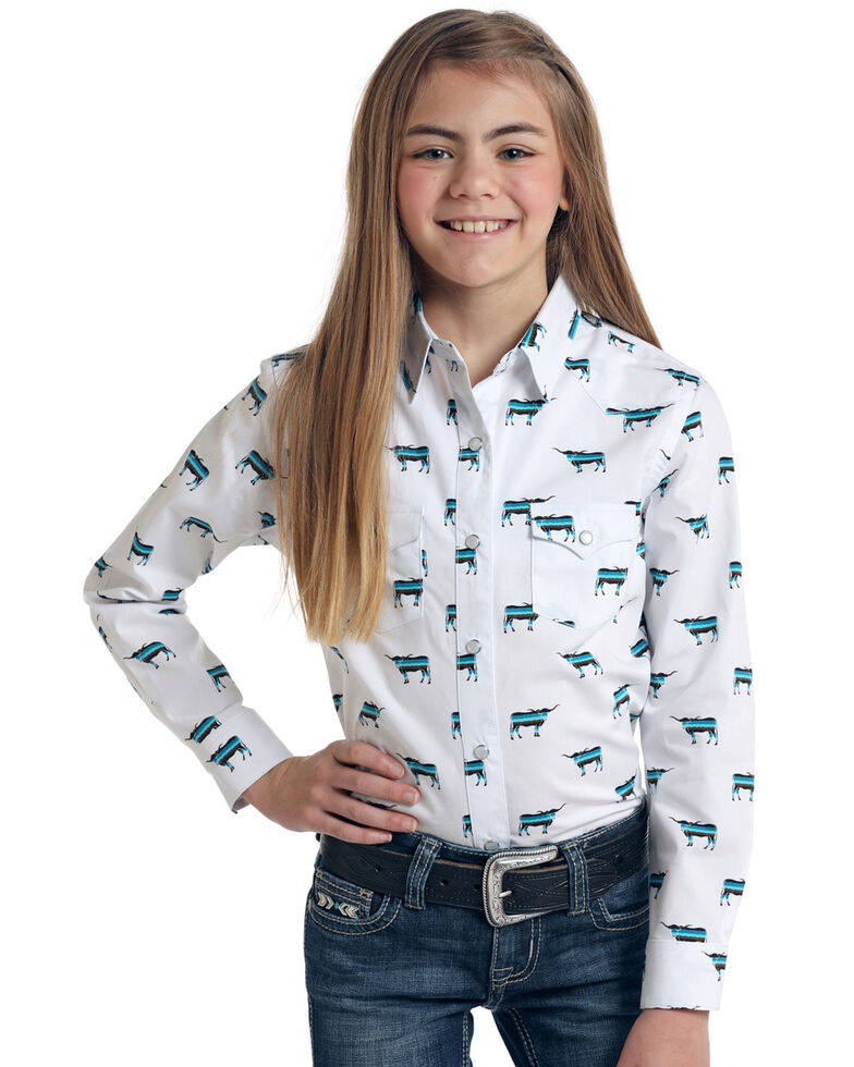 Rough Stock by Panhandle Girls' Steer Head Print Long Sleeve Western Shirt , White, hi-res