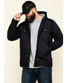 Cody James Men's FR Hooded Duck Work Jacket - Tall , Black, hi-res