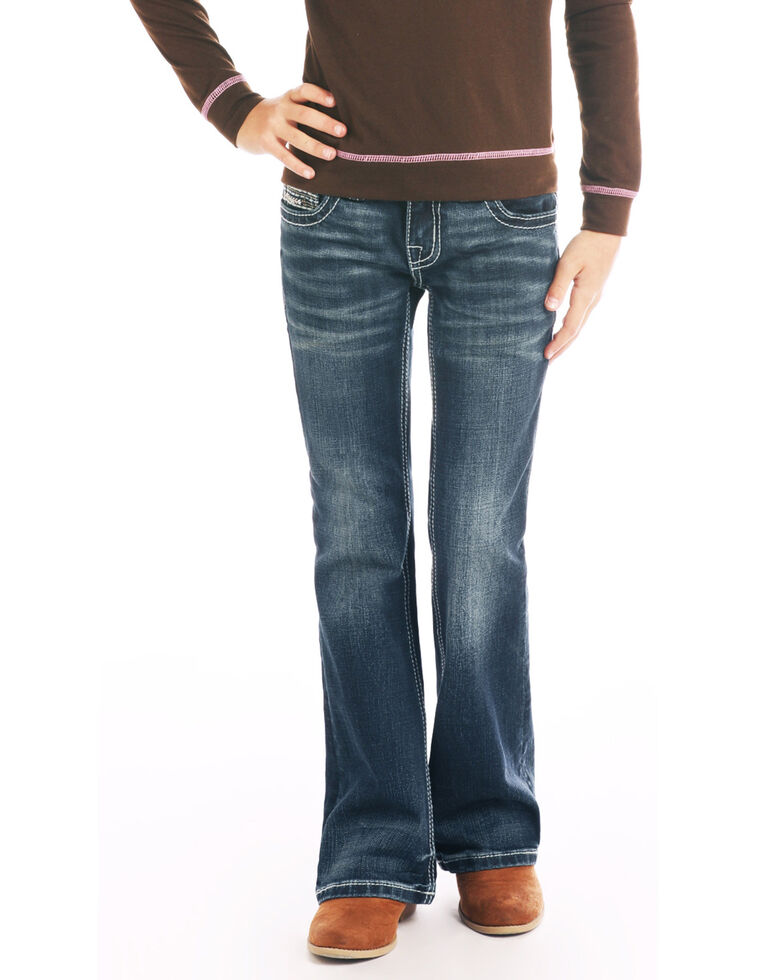 Rock & Roll Cowgirl Girls' Dark Wash Bootcut Jeans, Blue, hi-res