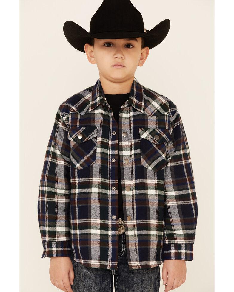 Roper Boys' Green Plaid Long Sleeve Snap Western Flannel Shirt , Green, hi-res