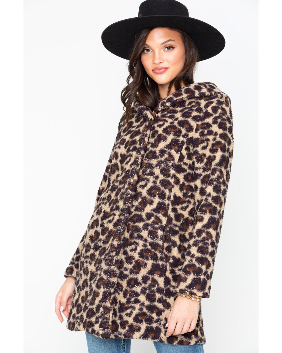 Ariat Women's Print Fleece Cheatah Megan Coat , Brown, hi-res