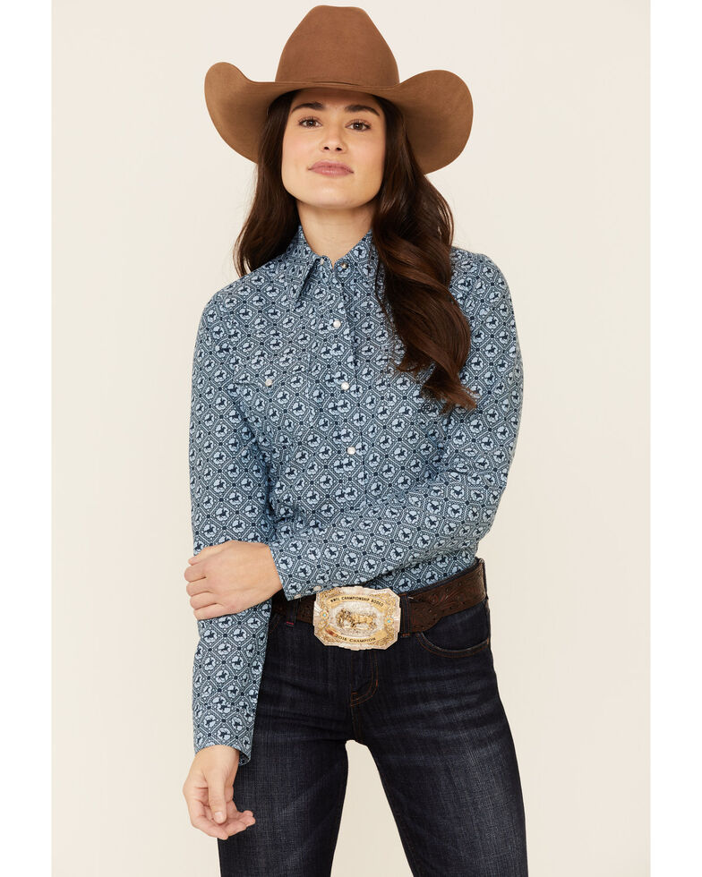 Amarillo Women's Sweet Water Blue Rider Oxford Print Long Sleeve Snap Western Shirt , Blue, hi-res