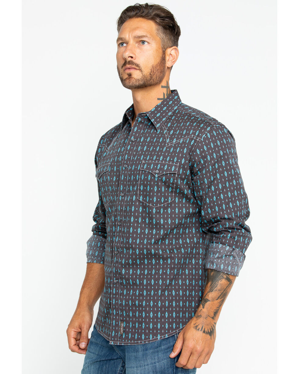 Wrangler Men's Long Sleeve Brown Retro Premium Print Shirt , Brown, hi-res